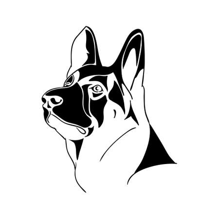 head icon: German Shepherd dog - black and white  Illustration