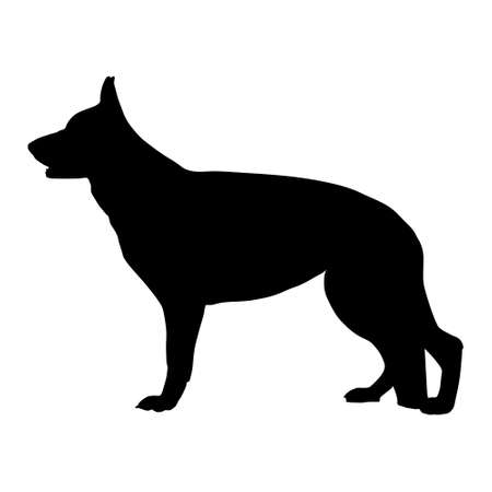 dog outline: Black vector silhouette of German Shepherd dog.