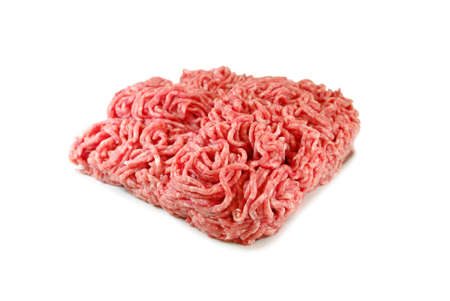 farce: Raw meat. Minced pork in a plate isolated on white background