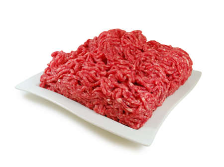 farce: Raw meat. Fresh Minced Mixof Meat in a Plate Isolated on White background
