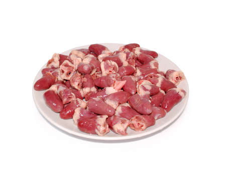 offal: Chicken offal. fresh raw chicken hearts against white background Stock Photo