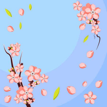 Amandel- of abrikozentak in bloei. Sjabloon voor wenskaart en uitnodiging. Vector illustratie Vector Illustratie