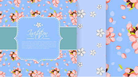 japanese apricot: Beautiful invitation or greeting card template with pink almond flowers.  Set with seamless backgrounds Illustration
