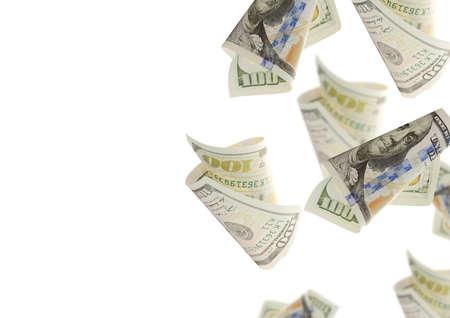 bankroll: Flying bonds Of One Hundred Dollar Bills. Abstract money background