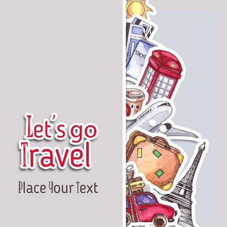 red telephone box: Travel and tourism poster template. London red telephone box, Statue of Liberty and the Eiffel Tower.