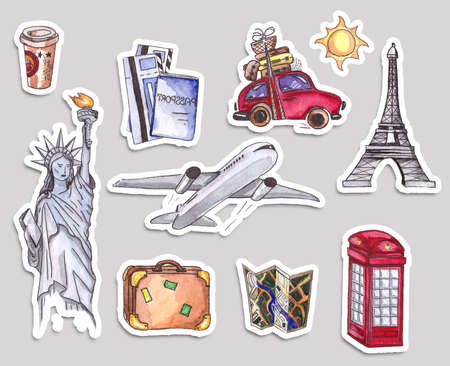 telephone box: Travel and tourism poster template. London red telephone box, Statue of Liberty and the Eiffel Tower.