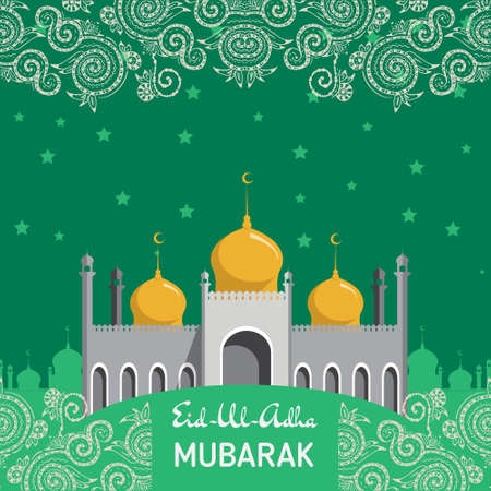 fitr: Flat Vector Illustration of Mosque for Muslim Community Festival Eid Al Fitr Mubarak.