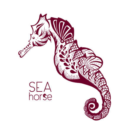 adult mermaid: Hand drawn, tattoo style seahorse. Marine life sketch design element for summer vacation illustration Illustration