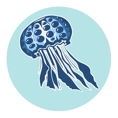 adult mermaid: Hand drawn jellyfish. Marine life, design element for summer vacation illustration Illustration