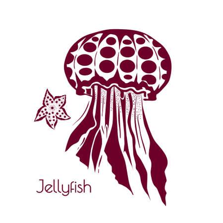 Médaillons stylisés et tatoués. Élément de conception de croquis de vie marine pour l'illustration de vacances d'été
