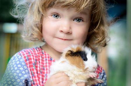 cavie: Ragazza sveglia del bambino in un abito bianco stile rustico in possesso di un porcellino d'India rosso morbido sulle mani
