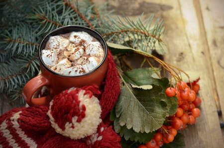 Cocoa or cup of coffee with marshmallows, fir and bright rowan branches, knitted scarf on old wooden table outdoor with beautiful bokeh lights.
