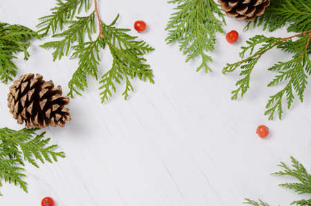 Christmas frame. Fir tree branches and rowan berries on a white wooden background. Top view composition