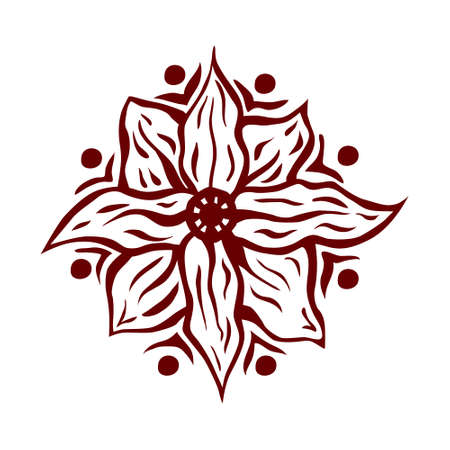 ornaments floral: Hand drawn mandala flower isolated on white