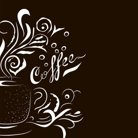 Hand Drawn Coffee Cup with Floral Design. Sketch style template for menu, wall art or advertising