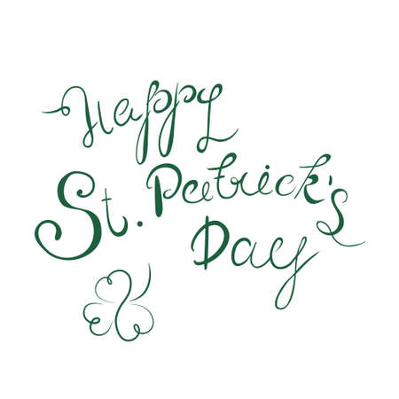 Happy St. Patricks Day lettering with clover shamrock. Traditional Irish hollyday template design.
