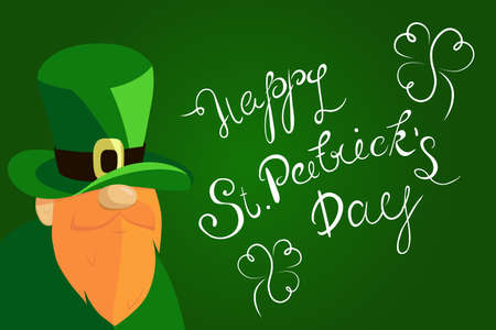 Happy St. Patricks Day lettering with Beared Leprechaun Character and clover shamrock. Traditional Irish hollyday template design. Illustration