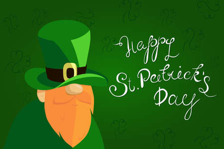 Happy St. Patricks Day lettering with Red Beared Leprechaun Character and clover shamrock. Traditional Irish hollyday template design.
