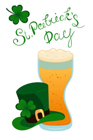 Happy St. Patricks Day lettering with green clover shamrock beer glass and Leprechauns hat. Traditional Irish holiday template design.
