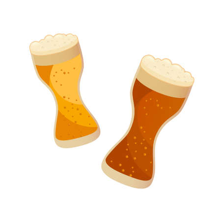 Two glasses with dark and light beer isolated on white. Vector illustration