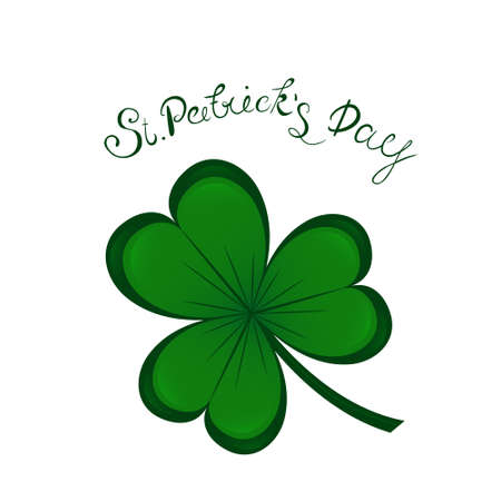 st.Patricks day lettering and Green Clover Shamrock. Irish hollyday background template design.
