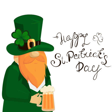 Happy St. Patricks Day lettering with Red Beared Leprechaun Character and clover shamrock. Irish hollyday template design.