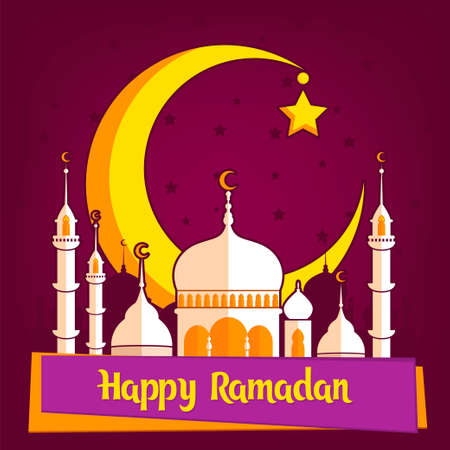 Greeting card template for muslim holiday with flat illustration of islamic mosque and crescent moon. Traditional Ramadan Kareem month celebration.