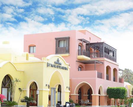 MAKADI, EGYPT - MARCH 21, 2017: Jaz Makadi Hotel main entrance Editorial