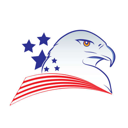 Eagle head outline vector illustration in american flag colors on a white background Ilustração