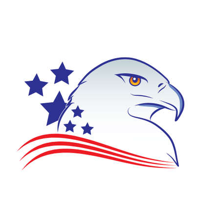 Eagle head outline vector illustration in american flag colors on a white background Stock Vector - 80500538