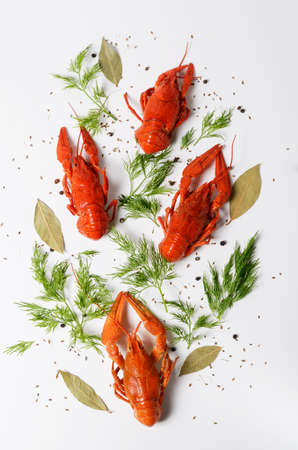 Seafood dish, Red boiled crayfish against the white background, top view photo. Kind of Snacks for beer.