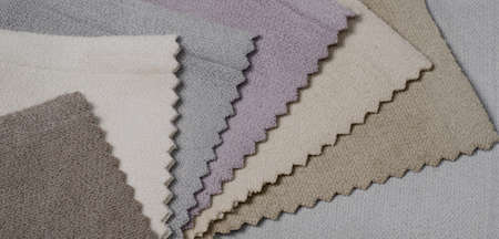 Bright collection of velour textile samples. Multicolor Fabric texture background.