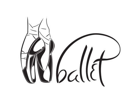Hand drawn old style lettering of word Ballet. Vector illustration with ballet dancers legs wearing Pointes. Dance school template.