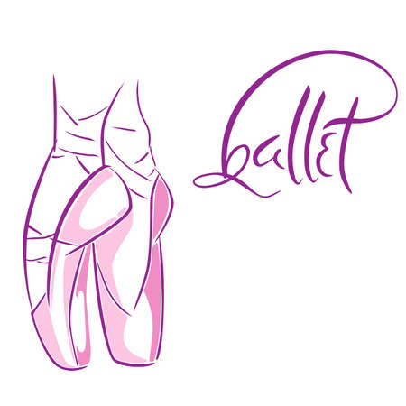 Lettering di vecchio stile disegnato a mano di parola balletto. Illustrazione vettoriale con le gambe di ballerini di balletto indossando Pointes. Modello di scuola di danza.