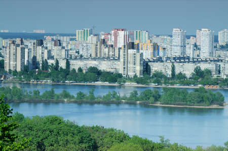 Landscape view of Dnipro river and its Left bank on the over side with new buildings Stock Photo