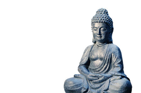 Buddha statue sitting in meditation pose isolated on white Stock Photo