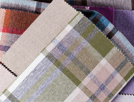 Bright collection of colorful gunny textile samples. Fabric texture background Standard-Bild - 115452850