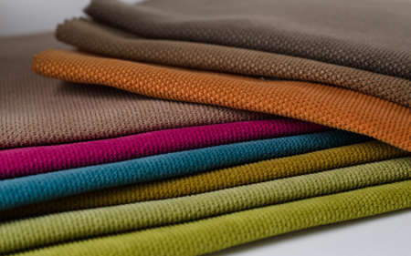 Bright collection of colorful velour textile samples. Standard-Bild - 115452846