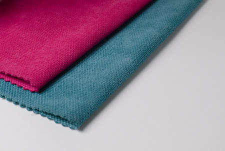 Bright collection of colorful velour textile samples. Standard-Bild - 115452849