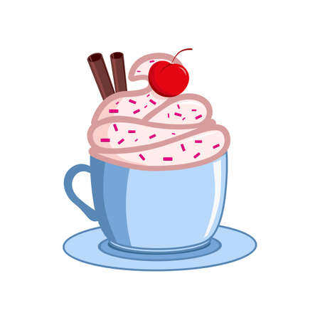 Coffee with icecream. Vector coffee cups. Ilustração