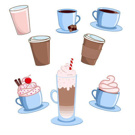 Coffee cups set. Various cute cafe drinks. Vector illustration.