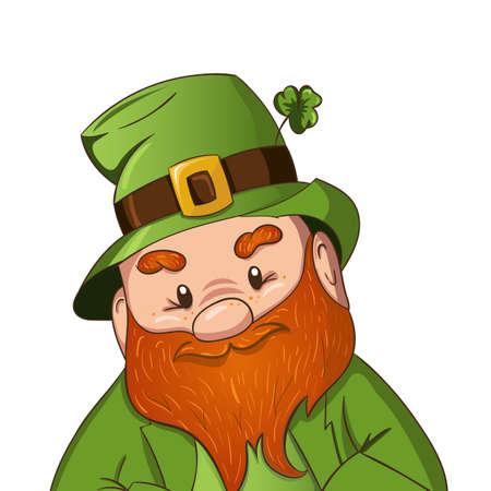 Happy Saint Patricks day illustration. Hand drawn Leprechaun cgaracter with green clover leaf. Vector illustration. Ilustração