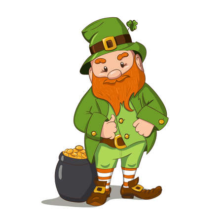 Happy Saint Patricks day illustration. Hand drawn Leprechaun cgaracter with green clover leaf. Vector illustration. Stock Illustratie