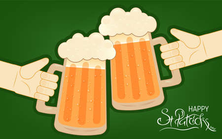 Two human hands toasting with beer mugs. Happy St. Patrick s Day lettering. Traditional Irish hollyday template for pub party. Ilustração