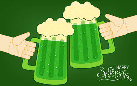 Two human hands toasting with beer mugs. Happy St. Patrick s Day lettering. Traditional Irish hollyday template for pub party. Standard-Bild - 117747190