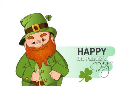 Happy Saint Patricks day Template. Hand drawn Leprechaun cgaracter with green clover leaf. Vector illustration. Ilustração