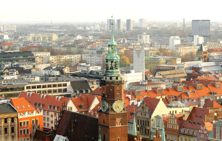 Bird Eye View to Panorama of Wroclaw City, Poland. View from the top of central Tower. View of old town Breslau