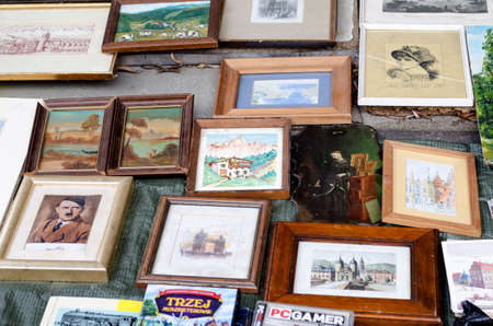 Wroclaw, Poland - 01.12.2019: many watercolor paintings for sale on the Flea Market, swap meet in Wroclaw, Poland.