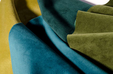 Bright abstract collection of emerald velvet textile samples in green colors. Fabric texture background Banque d'images