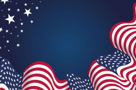 波浪状的美国国旗在美国节日设计以国定假日、独立日、7月4日和阵亡将士纪念日。有一个空的文字的地方。